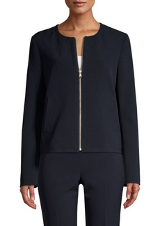 DKNY Long-Sleeve Collarless Zip-Front Jacket