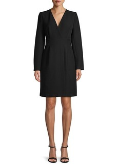 DKNY Long Sleeve Faux Wrap Dress