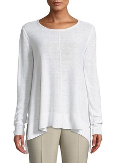 DKNY Long-Sleeve Side-Slit Linen Tee