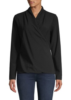 DKNY Long-Sleeve Side-Wrap Top