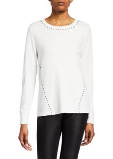 DKNY Long-Sleeve Studded Top