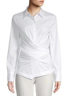 DKNY Long-Sleeve Wrap Button-Down Shirt