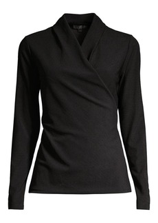DKNY Long-Sleeve Wrap Top