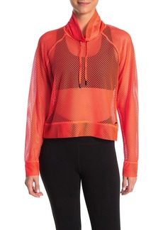 DKNY Mesh Funnel Collar Pullover Sweater