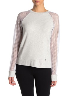 DKNY Mesh Raglan Sleeve Pullover Sweater
