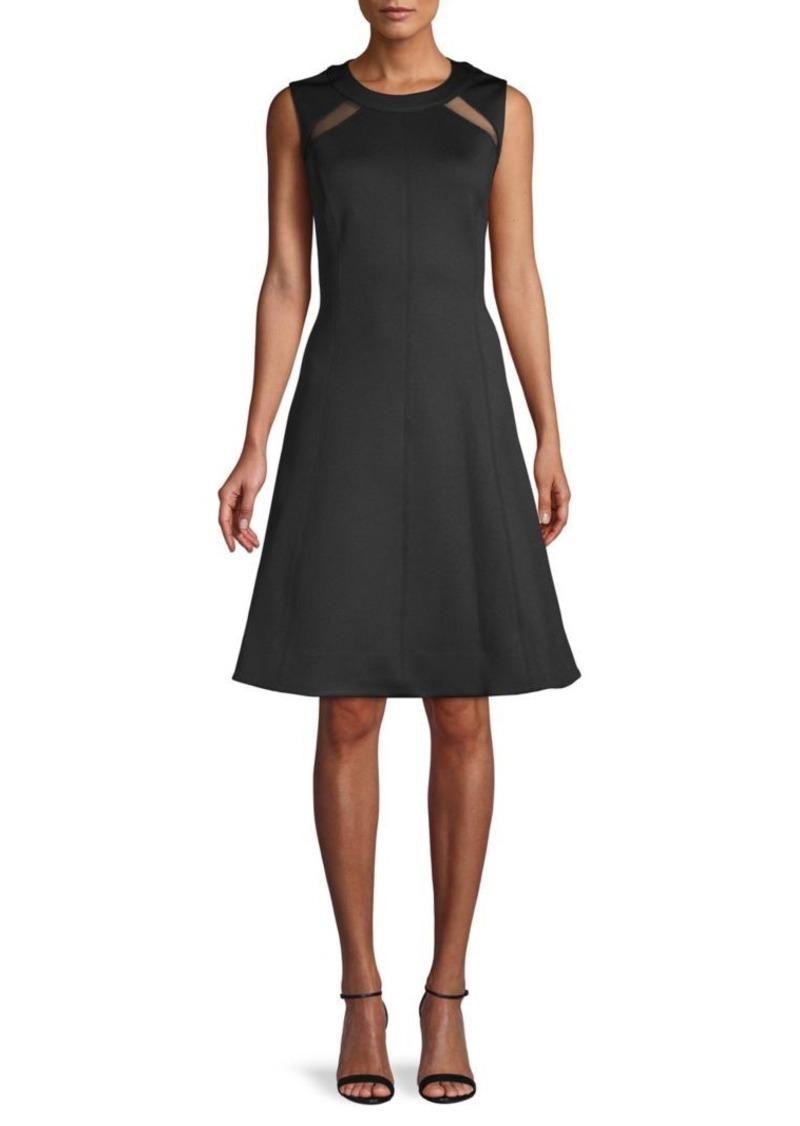 DKNY Mesh Sleeveless A-Line Dress