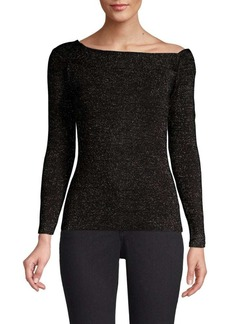 DKNY Metallic Asymmetrical Ballet-Neck Top