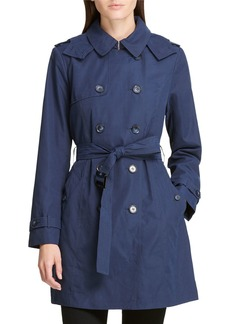 DKNY Microfiber Belted Trench Coat  Navy