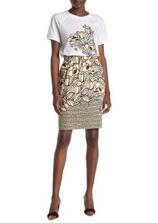 DKNY Mixed Print Knee Length Skirt