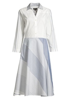 DKNY Mixed Stripe Button-Front Cotton Dress