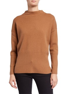 DKNY Mock-Neck Long-Sleeve Rib Accent Sweater