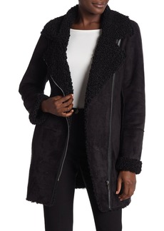 DKNY Notch Collar Faux Shearling Lined Asymmetric Zip Faux Suede Coat