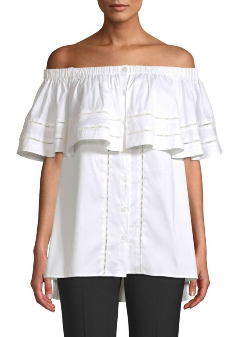 DKNY Off-The-Shoulder Button Blouse
