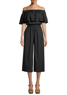 DKNY Off-The-Shoulder Button-Front Jumpsuit