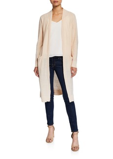 DKNY Open-Front Long Linen Cardigan