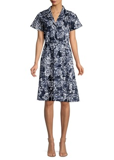 DKNY Paisley Floral Shirtdress