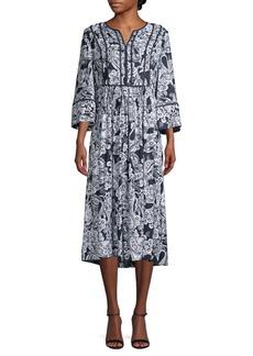 DKNY Paisley-Print Midi Dress