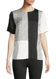 DKNY Patchwork Painted Polka-Dot Short-Sleeve Top