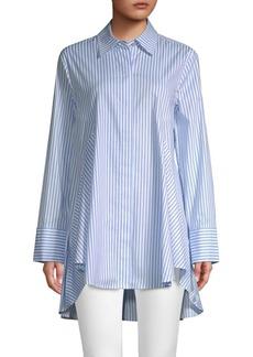 DKNY Striped High-Low Button-Down Shirt