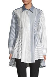 DKNY Pinstripe Cotton Trapeze Shirt
