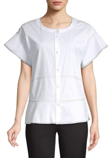 DKNY Piping Button Front Short Sleeve Blouse