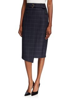 DKNY Plaid Faux Wrap D-Ring Skirt