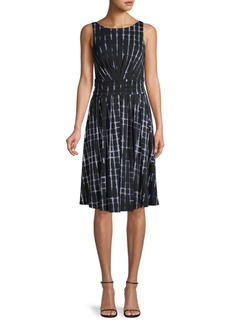 DKNY Pleated Abstract-Print Dress