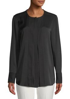 DKNY Pleated Long-Sleeve Top