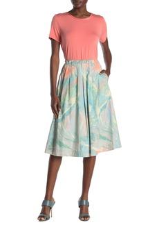 DKNY Pleated Printed Skirt