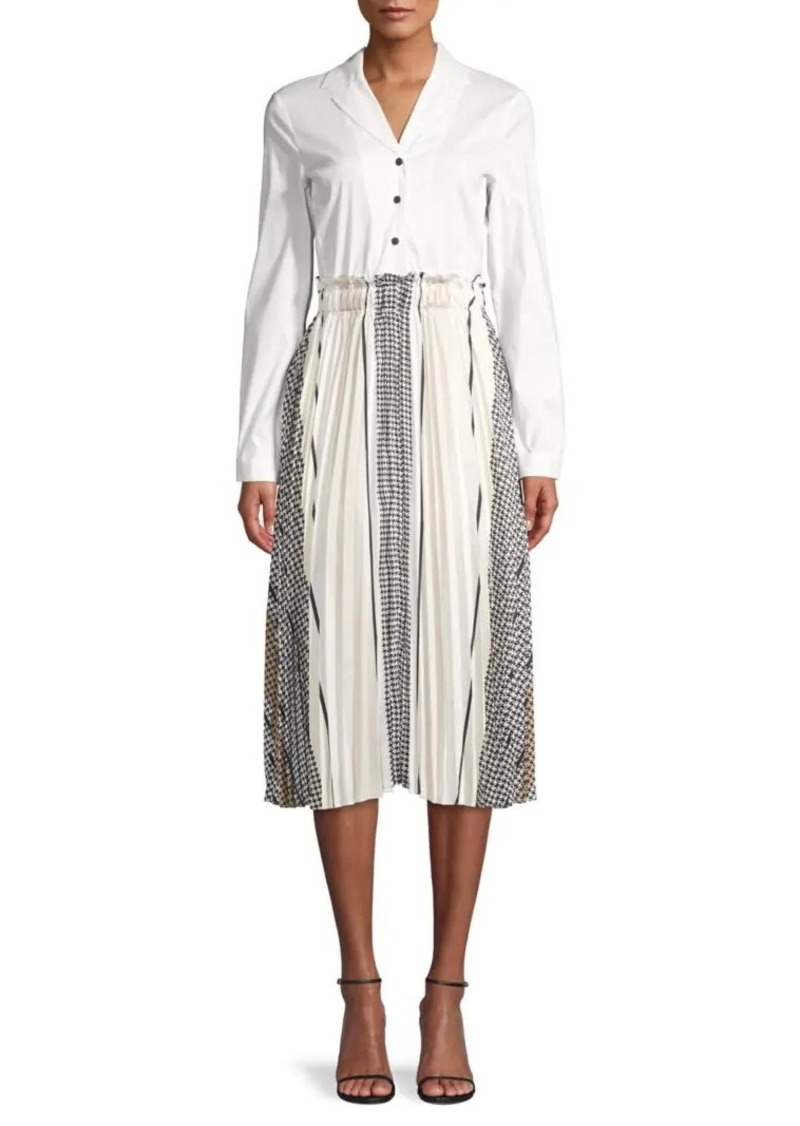 DKNY Pleated Silk Midi Shirtdress