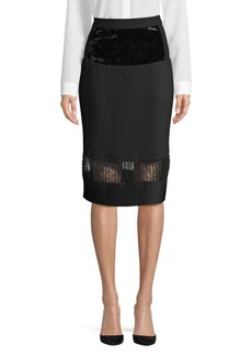 DKNY Pleated Velvet A-Line Skirt