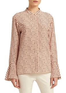 DKNY Polka Dot Bell Sleeve Blouse