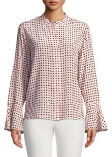 DKNY Polka-Dot Mandarin Collar Bell-Sleeve Shirt