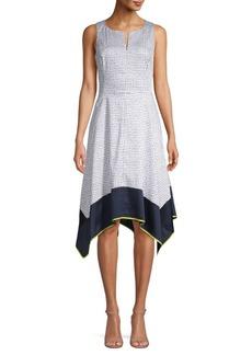 DKNY Printed Asymmetric Midi Dress