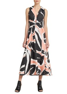 DKNY Printed Cotton Midi Dress