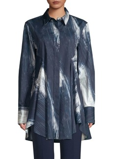 DKNY Printed Flowy Button-Down Tunic