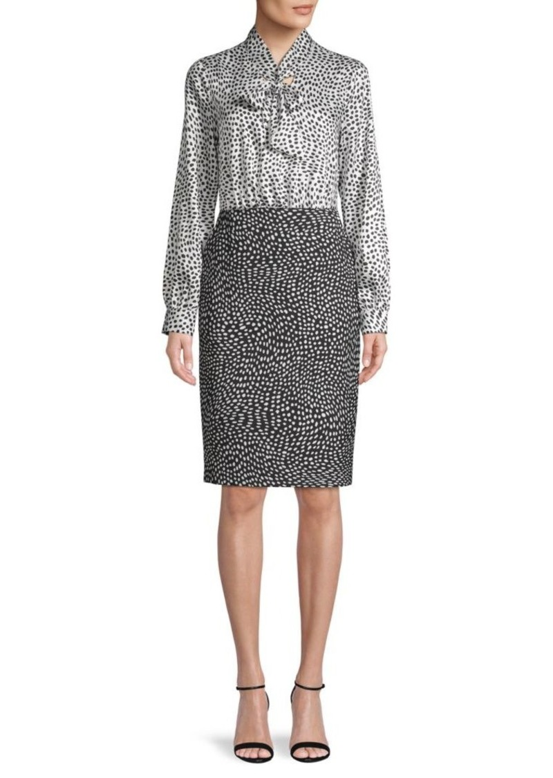 DKNY Printed Long-Sleeve Dress