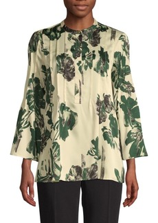 DKNY Printed Pleated Blouse