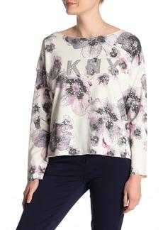 DKNY Floral Rhinestone Logo Sweatshirt