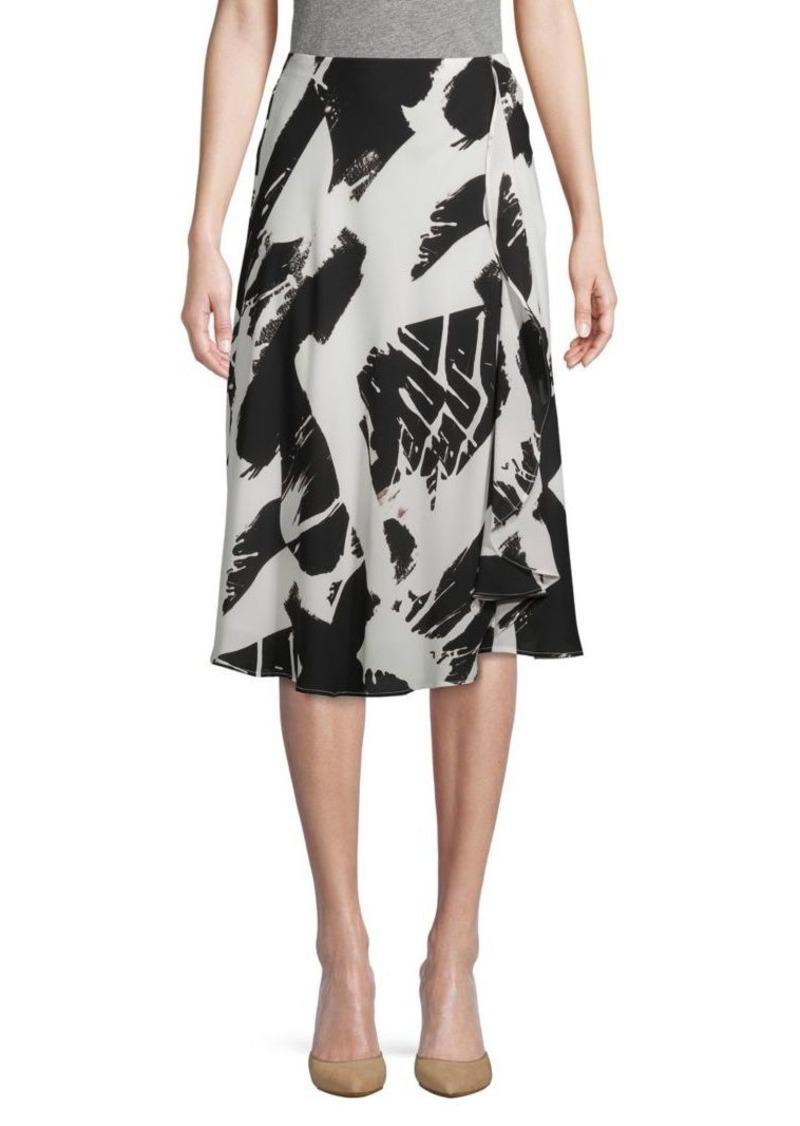 DKNY Printed Ruffle Skirt