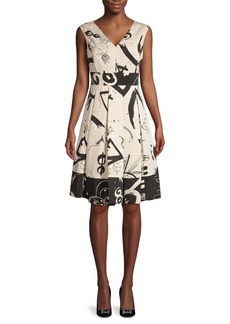 DKNY Printed Sleeveless A-Line Dress