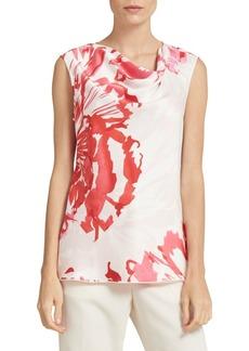 DKNY Printed Sleeveless Satin Top