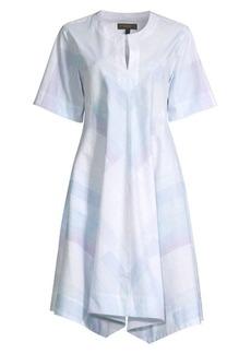 DKNY Printed Split V-Neck Trapze Dress