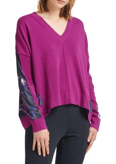 DKNY Printed V-neck Sweatshirt