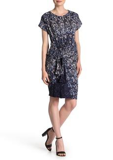 DKNY Printed Waist Tie Dress