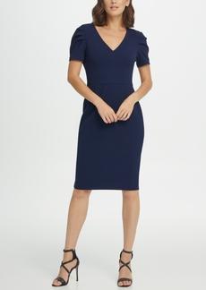 DKNY Puff Pleat Sleeve V-Neck Sheath Dress