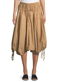 DKNY Pull-On Cotton Trapeze Midi Skirt w/ Drawstrings