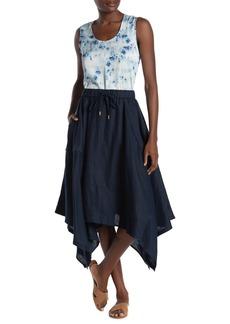 DKNY Pull-On Handkerchief Hem Linen Skirt