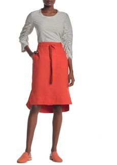 DKNY Pull-On Waist Tie Linen High/Low Skirt