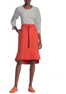 DKNY Pull-On Waist Tie Linen High/Low Skirt